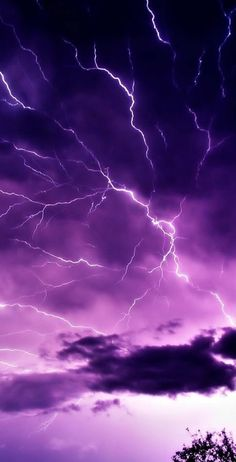 Lightning and purple sky in west Wales