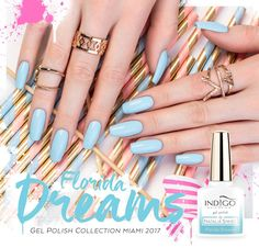 Florida Dreams Gel Polish by Kasia Wojtczak, Indigo Young Team #nails #nail #nailsart #indigonails #indigo #hotnails #summernails #springnails #miami #nataliasiwiec #floridadream #blue #pastel #pastelnails