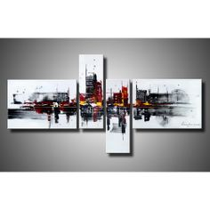 'Abstract 454' Hand-painted 4-piece Gallery-wrapped Canvas Art Set | Overstock.com Shopping - The Best Deals on Canvas