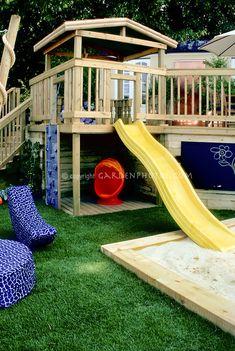 Sandbox in backyard landscape for children by judywhite / Garden Photos.com
