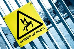 """Danger of Death 3 - Press PLAY To Die"". Selective Colour Photograph ©2014 Pete Edmunds. #sign #highvoltage #danger #shock #electricity #death #voltage #current #warning #body #electric"