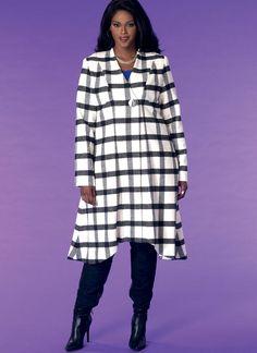 McCall's sewing pattern by Khaliah Ali. M7485 Women's Seamed, Shaped-Hem Coats