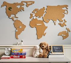 Great for Oat's room with the world map. World Map Corkboard | Pottery Barn Kids