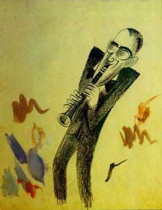 Benny Goodman, 1937 gouache and ink.