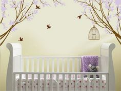 lavender wall decals | Beautiful Purple Flowers Blossom and Birds Wall Stickers Decals in ...