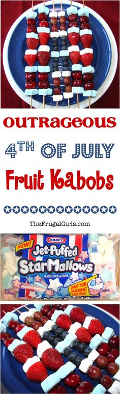 4th of July Party Ideas!  These fun Fruit Kabobs make the BEST Patriotic Desserts for your Summer parties - both kids and adults will be begging for more dessert! | TheFrugalGirls.com