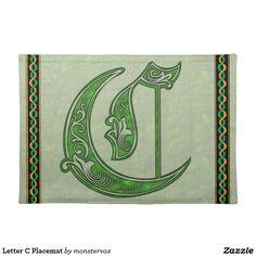 Letter C Placemat #Alphabet #Letter #Art #Embossed #Fashion #Cloth #Placemat