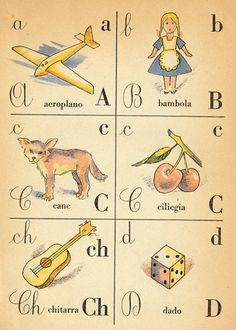 website is in Italian, so I can't figure out where the rest of the alphabet is… Abc Cards, Alphabet Cards, Alphabet Book, Alphabet And Numbers, Italian Alphabet, French Alphabet, Vintage Labels, Vintage Cards, Children's Book Illustration