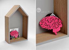 Felt brooch pink brain shape pink brain by FeltLabel on Etsy