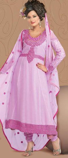 $73.98 Pink Thread Work Faux Georgette Anarkali Salwar Kameez 22095