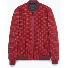 Zara Quilted Jacket (70 CAD) ❤ liked on Polyvore featuring men's fashion, men's clothing, men's outerwear, men's jackets and red