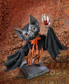 """Billy the Bat"" by artist Scott Smith. Photo Courtesy of: Rucus Studio/Scott Smith. Halloween Doll, Halloween Projects, Cute Halloween, Holidays Halloween, Vintage Halloween, Halloween Decorations, Halloween Gourds, Halloween 2017, Halloween House"