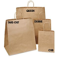Screenprinted with Store name & logo and also a note to recycle. Give discounts to customers who bring back one of our bags to 'reup' and 'reload' -- Brown Paper Gift Bags, Kraft Shopping Bags in Stock - ULINE