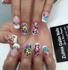 Uñas bonitas Toe Designs, Fancy Nails, Flower Nails, Gel Nails, Polish, Nail Art, Beautiful, Nail Art Designs, Art Nails