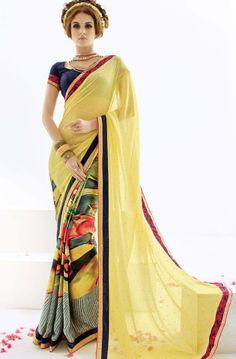Shop for blissful yellow saree @ Rs 1520 !!  #IndianSaree #IndianSarees #OnlineShopping #Silksaree