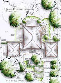 Nice Gartenplanung f r einen klassischen Garten einer Villa Gartenplan siteplan gardenlayout masterplan