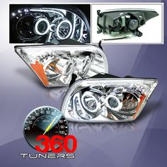 06-12 Dodge Caliber CCFL Projector Headlights with Amber Reflectors - Pair (Chrome)