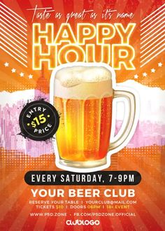 Download the Free Happy Hour Flyer PSD Template!
