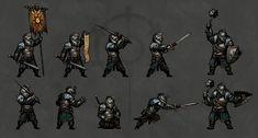 Here to Raze Hell - Darkest Dungeon—Dark Souls Skin MOD by lei wu Steampunk Armor, Larp Armor, Pixel Characters, Fantasy Characters, Dark Souls, Dnd Mini, Knights Watch, Apocalypse Character, Medieval Games