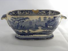 Antique Historic Staffordshire Wild Rose Blue Transfer Bowl | eBay