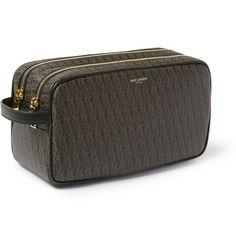 Saint Laurent Leather-Trimmed Coated-Canvas Wash Bag   MR PORTER