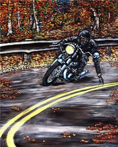 ARTFINDER: Yellowline  by DASMANG    (Gary Aitken ) - Tracing the Yellow line on a beautiful Autumn day . #art #painting #motorcycle #caferaer #fall