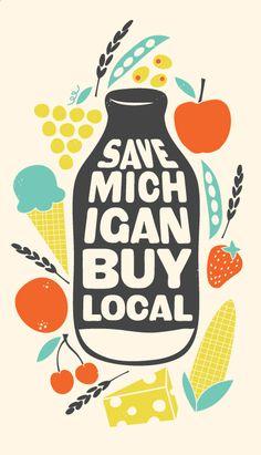 Save Michigan Buy Local / design by Amanda Jane Jones// Swede Cottage Farm // Logo Inspiration, Michigan, Design Package, Web Design, Food Design, Buy Local, Shop Local, Design Graphique, Food Illustrations