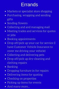Personal Concierge Service- Errands, Organising etc