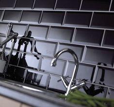 Black Ceramic Subway Tile Kitchen Backsplash: Found at… Black Wall Tiles, Black Subway Tiles, Beveled Subway Tile, Black Backsplash, Ceramic Subway Tile, Subway Tile Kitchen, Subway Tile Backsplash, Kitchen Backsplash, Splashback Tiles