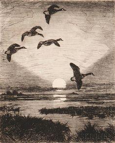 Frank Weston Benson (American, 1862-1951) November Moon | Sale Number 2977B, Lot Number 24 | Skinner Auctioneers