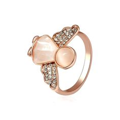 #BangGood - #Eachine1 Sweet Angel Opal Ring Clothing Accessories Rose Gold Plated Anallergic Jewelry for Women - AdoreWe.com