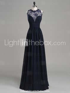 Formal Evening Dress A-line Jewel Floor-length Chiffon / Lace with Appliques / Side Draping 2017 - $89.99