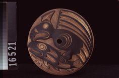Coast Salish spindle whorl, wood, 204mm