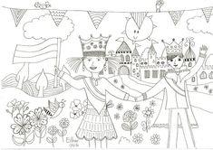 Een kleurplaat voor koningsdag, die natuurlijk ook op alle andere dagen van het jaar kan worden ingekleurd. Veel plezier!