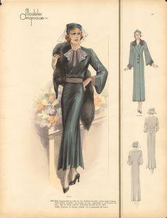 Shoe-Icons / Printed materials. Shoes Illustrated / Модель в длинном зеленом платье с манто из выдры через плечо