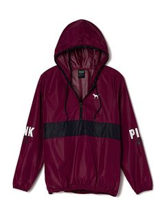 Anorak Pullover PINK LJ-334-430 A lightweight, easy pullover hoodie—perfect to layer or wear alone. Only from Victoria's Secret PINK. Slim fit Printed graphics Half-zip front Imported nylon
