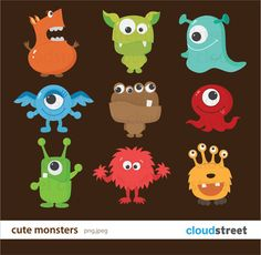 buy 2 get 1 free Cute Monsters Clipart for Personal and Commercial Use ( cute monster clip art ) INSTANT DOWNLOAD