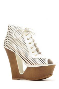 4b1ec735343 Bamboo White Cut Out Lace Up Peep Toe Wedges Floral Wedges