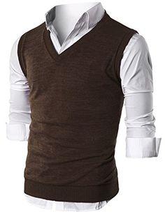 Ohoo Mens Slim Fit Casual V-Neck Knit Vest/DCV010-BROWN-S...