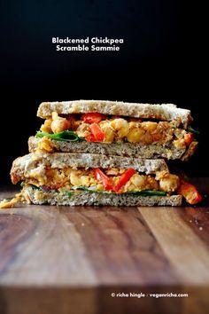 Spicy Blackened Chickpea Scramble Sandwich. Vegan Recipe