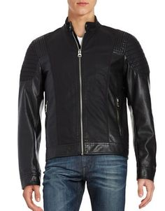 Guess Faux Leather Moto Jacket Men's Black Large