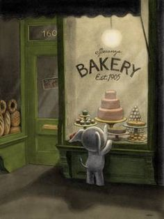 Illustration: elephant at bakery window. I would love this kind of artwork for a child's room.so sweet and whimsical. Art And Illustration, Illustration Mignonne, Fantasy Anime, Art Fantaisiste, Art Mignon, Whimsical Art, Art Design, Oeuvre D'art, Cute Art