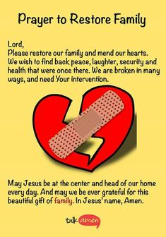 Prayer to bring family back together
