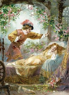 "By Artist Ambrose Dudley (fl. ""The Prince Finds the Sleeping Beauty"". Beauty Illustration, Children's Book Illustration, Food Illustrations, Princesa Disney Aurora, Classic Fairy Tales, Briar Rose, Brothers Grimm, Fairytale Art, Fairy Land"