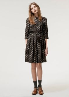 Love the socks with the oxford's idea...dress is a little homely for my taste but it has a nice shape.