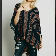 Navy Free People Poncho Worn once. In excellent condition. Dry cleaned. Free People Sweaters Shrugs & Ponchos
