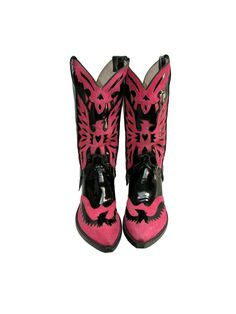 Champion Attitude Western Boots Vintage Mens Pink Suede and Black Patent Leather Double Eagle Cowboy Boots Mns Size 8 by Atomicfireball on Etsy https://www.etsy.com/listing/215714999/champion-attitude-western-boots-vintage