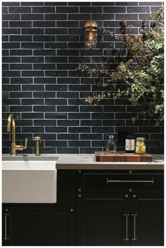 """We have collected some really great Black Subway tiles design to give that modern touch to your kitchen. Checkout Black Subway Tiles In Modern Kitchen Design Ideas"""" and get inspired. Black Kitchen Cabinets, Black Kitchens, Home Kitchens, Brass Kitchen, Kitchen Backsplash, Black Backsplash, Kitchen Industrial, Backsplash Ideas, Kitchen Black Tiles"""