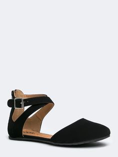 - Designed with nubuck upper, Open Side Ankle Strap with adjustable buckle have a lightly cushioned footbed making these flats comfortable for all day wear. - There is a zipper located on the heel of