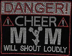 Danger Cheer Mom Will Shout Loudly Cheerleader Crystal Rhinestone Sparkle Transfer via Etsy